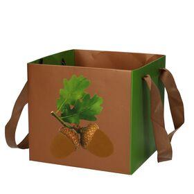 Τσάντα με μπουκέτο λουλουδιών σε νερό.Σομόν χρώματα. Φθινοπωρινό.