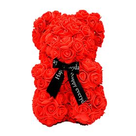 Αρκουδάκι από τεχνητά τριαντάφυλλα. Συνοδεύεται από συσκευασία δώρου.