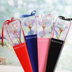 Galaxy τριαντάφυλλο με φωτάκια  LED (δόνησης) σε συσκευασία δώρου !!! (4) τεμάχια !!!