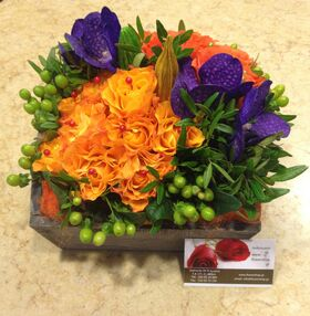 """""""Grouped"""" colored flowers in basket. Colored  Spring !!! (35cm basket size)"""