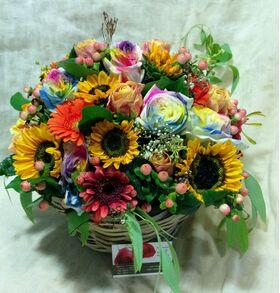 """Σύνθεση με  λουλούδια """"Πολύχρωμη Γιορτή"""". Καλάθι ή Γυάλινο."""