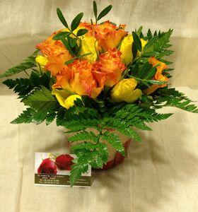 (21) Πολύχρωμα τριαντάφυλλα σε βάζο  με διακόσμηση χρωματιστής άμμου.