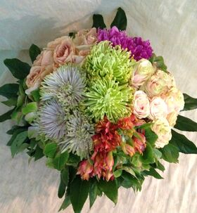 Multi colored flowers in basket. Colored  Spring !!!