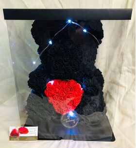 "Roses Teddy Bear with ""Heart"". Dim. 40cm. In ""Decorative Package ""."