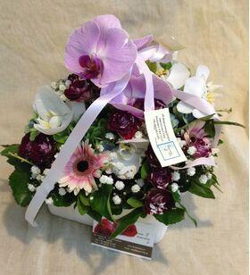 """Arrangement with vanda orchids in """"paper look"""" ceramic pot.Special."""