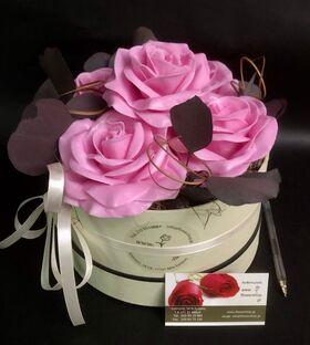 """(4) τριαντάφυλλα  με επικάλυψη """"Κεριού"""" Ροζ Σύνθεση σε καπελιέρα !!! ΝΕΟ !!! Επίσης διαθέσιμα σε μαύρα"""