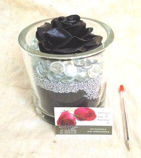 """(1) τριαντάφυλλο  με επικάλυψη """"Κεριού"""" Μαύρο Σύνθεση σε Βάζο !!!"""