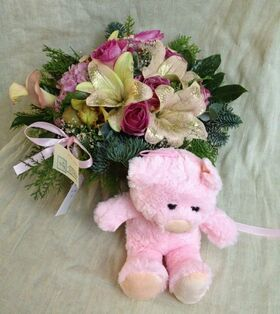 """Arrangement  """"Christmas"""" for new born baby girl +Teddy !! (also available in blue)"""