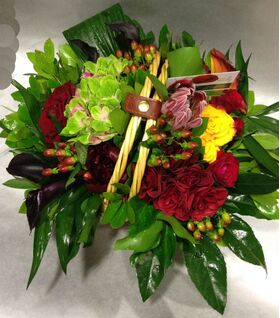 """Basket with exclusive Red & """"Black"""" Flowers !!!"""