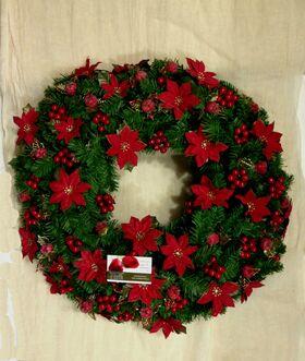Χριστουγεννιάτικο στεφάνι με τεχνητά στολίδια διακόσμησης