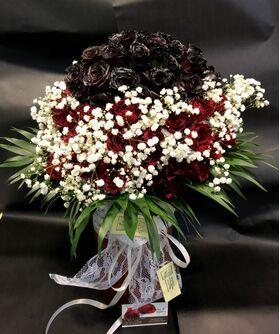 (101) Κόκκινα Exclusive Dutch Roses 50cm σε βάζο.Πολυτελές.