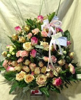 """""""Only""""  Pink Roses Basket. Exclusive."""