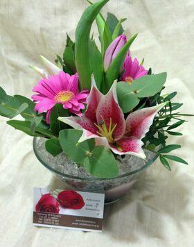 Λουλούδια εποχής σε γυάλινο + διακόσμηση !!! (Μόνο Αθήνα & Προάστεια) 10,00€