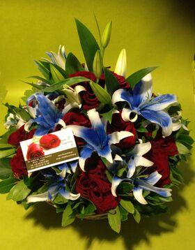 Μπλε Λίλιουμ & Κόκκινα Τριαντάφυλλα Μπουκέτο ή Καλάθι . Ανθοπωλείο Νέα Σμύρνη