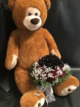 """""""Κόκκινα Τριαντάφυλλα"""" !!! Αγάπη χ (101) τεμ. !!! + (1) XXL Αρκούδος 130 - 150 cm. Πολυτελές !!!"""