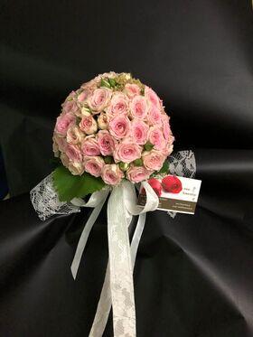 """Νυφική Ανθοδέσμη """"Ροζ Σφαίρα"""" Πολυανθή Τριαντάφυλλα"""