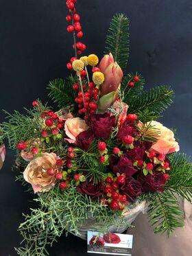 Κόκκινα χριστουγεννιάτικα λουλούδια σε καλάθι. Εορταστικό Άρωμα !!! Πολυτελές.