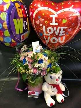 """""""Περαστικά"""" Με  Λουλούδια + Βάζο + Μπαλόνια + Αρκούδος + Διακόσμηση"""