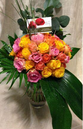 (50)+ Τριαντάφυλλα Μπουκέτο Διάφορα Χρώματα + Βάζο 50,00€ !!!